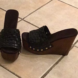 Black Wooden Wedges Platform Sandals